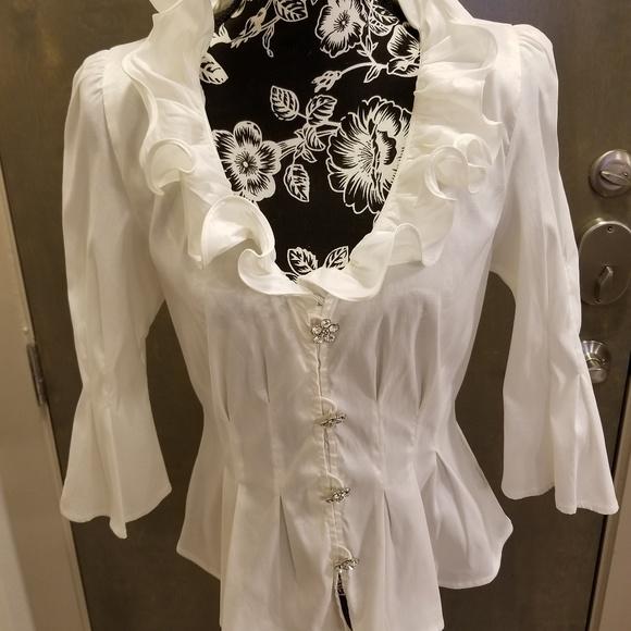 ef9bd6c3a3f2 Chetta B Tops | White Dressy Blouse | Poshmark